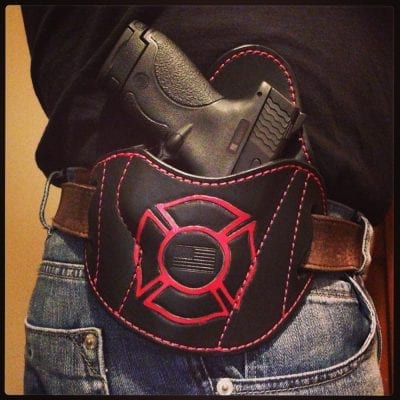 OWB Holster (Red/Black on Belt)
