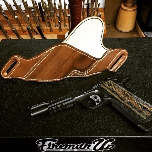 OWB Holster (Brown, on Table with Handgun)