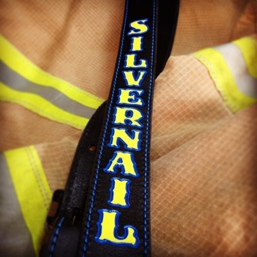 Standard Radio Shoulder Strap (Black, Yellow Text, Close-Up)
