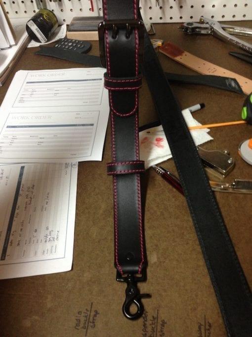 Standard Radio Shoulder Strap (Black, Red Stitching)